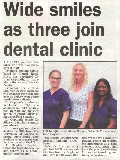 Brighton Implant Clinic in Argus Newspaper