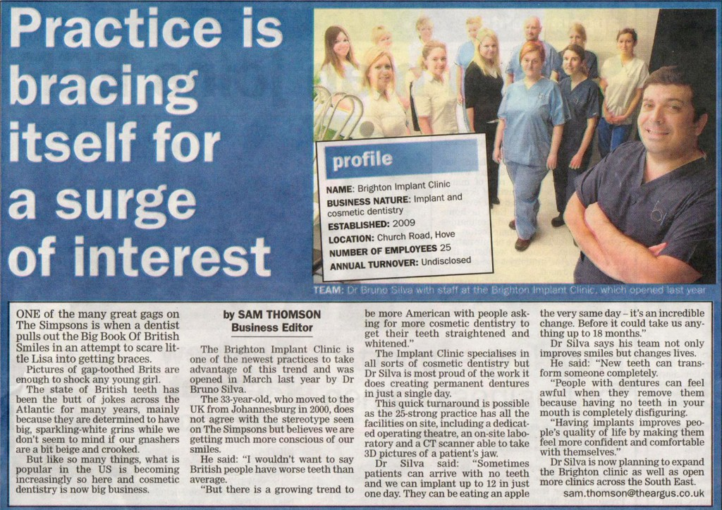 Dental Implant Argus Newspaper article