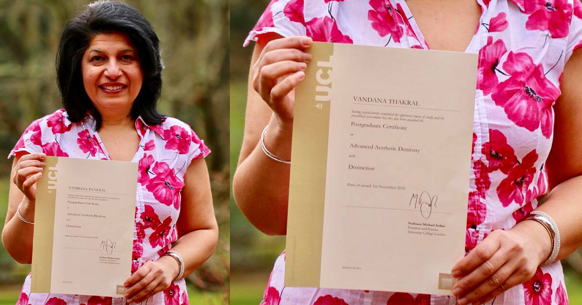 Pictured above: Dr. Vandana Thakral with her postgraduate certificate